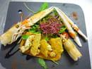 Auberge de la Roche  - Fine tarte de langoustines poëlées au pesto de tomates, vinaigrette balsamique -