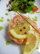 Aux Fourneaux  - Tartare de saumon aux langoustines et aux agrumes -