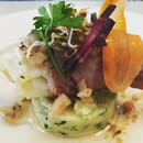 Les Petites Assiettes  - écrasé de pommes de terre, poireaux vinaigrette tiède au thym -   © les petites assiettes