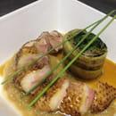 , Plat : Postcards Restaurant  - Magret de canard à la rubharbe et Roulade de légumes  -