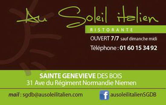 , Restaurant : Au Soleil Italien  - Carte de visite -