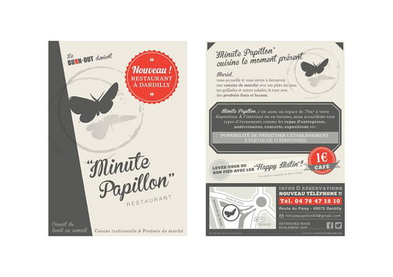 Bmc-Minute Papillon  - flyer café 1 euros -   © minute papillon
