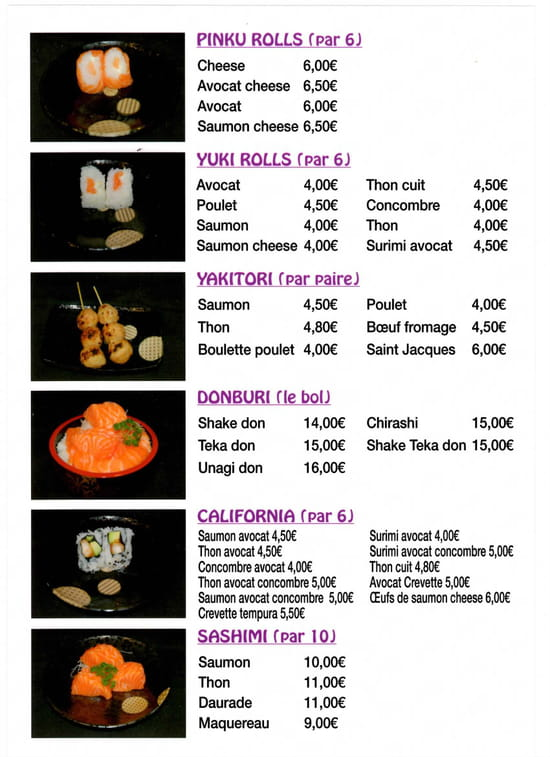 Kinoko Sushi  - Menu Page 11 -