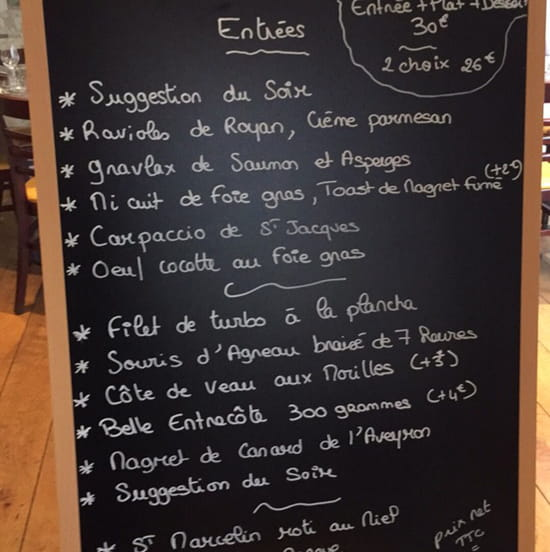 , Restaurant : La bonne chaise  - Menu carte -