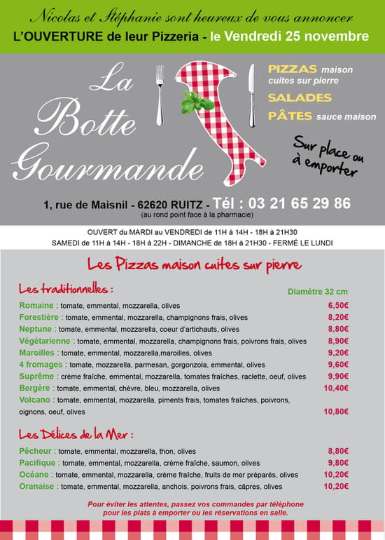 La Botte Gourmande  - recto du flyers -