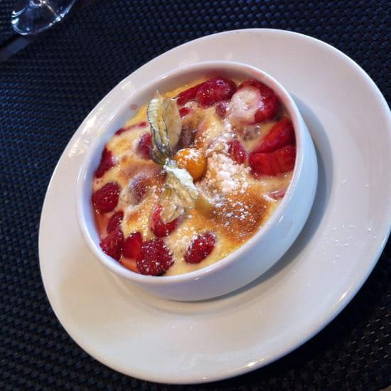 , Dessert : La Fleur de Thym  - Gratin de fraise au pineau  -