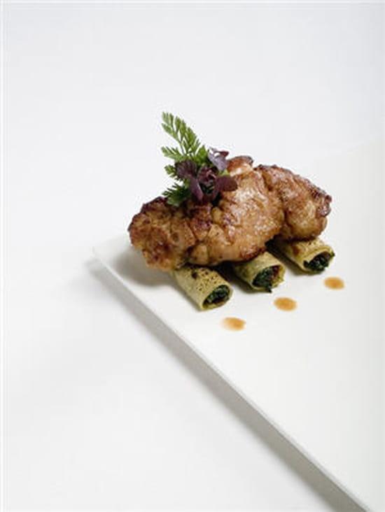 La Grenouillère  - Ris de veau poelé, caneloni au pesto -   © Auberge de la Grenouillère