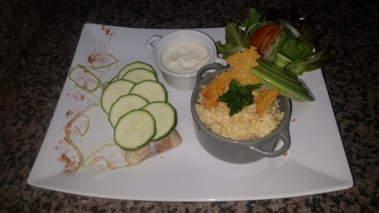 Le Bistrot du XII  - Dos de Cabillaud en écaille de courgette, sauce au beurre blanc et risotto aux crevettes -