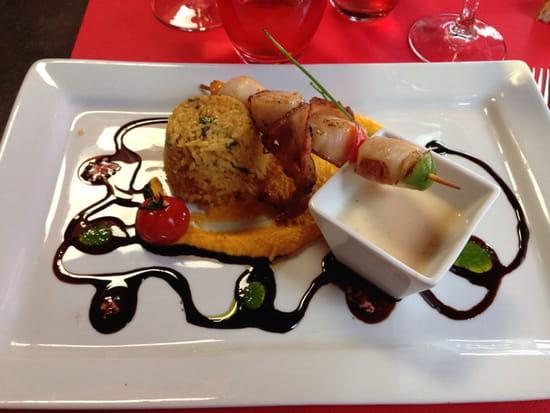 , Plat : Le Café Foutu  - Brochette de saint Jacques -