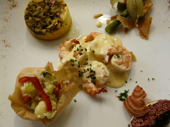 Le Galopin Gastronome  - Gambas et sa crème d'épices aux massalé -