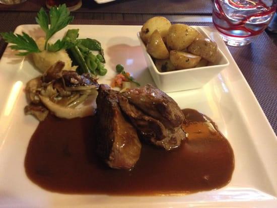 , Plat : Le Jardin Gourmand  - Selle d'agneau, purée céleri, champignon et légumes, pommes à la graisse d'oie -