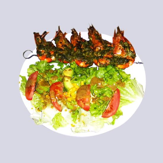 Le Khelkom Restaurant  - Plat Gambas au Khelkom Restaurant africain à paris -   © htt://www.lekhelkom.com