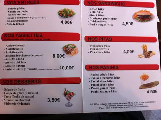 , Restaurant : Le Pacha  - Menu -