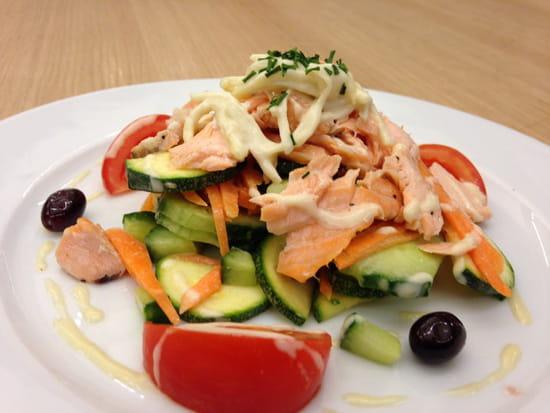 , Plat : Le Saint Maurice  - Pavé de saumon rôti froid, crudité des légumes,vinaigrette citronnée...idéal pour l été..!!! -
