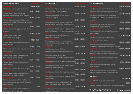 Pizza Johnny  - English menu -   © Pizza Johnny