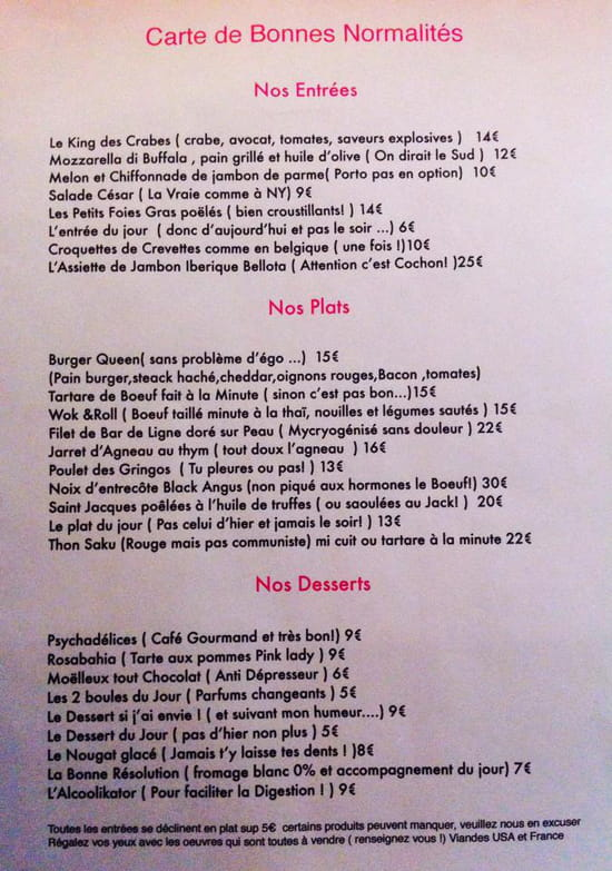RDV  - Carte du restaurant -