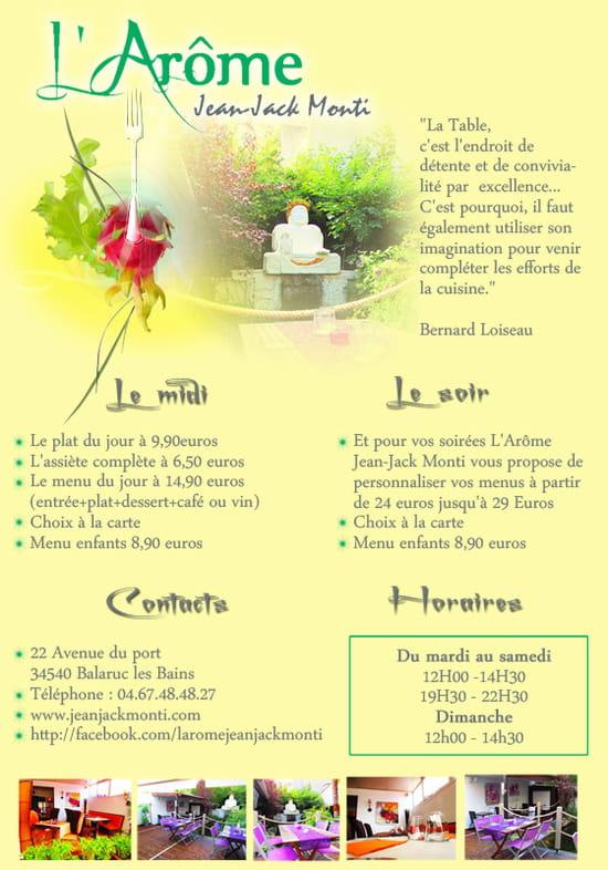 Restaurant L'Arôme - Jean-Jack Monti  - Les formules midis et soirs -