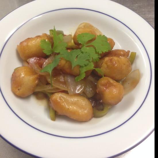 , Plat : Restaurant Soleil d'Asie  - Beignet de crevette a la sauce aigre douce  -